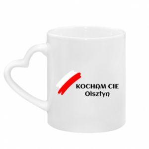 Mug with heart shaped handle Kocham cię Olsztyn