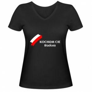 Damska koszulka V-neck Kocham cię Radom