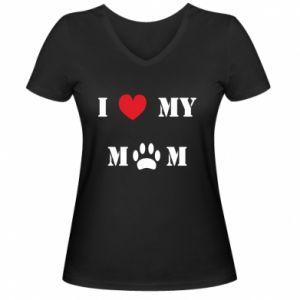 Damska koszulka V-neck Kocham mamusię - PrintSalon