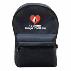 Plecak z przednią kieszenią Kocham moją rodzinę