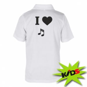 Dziecięca koszulka polo I love music