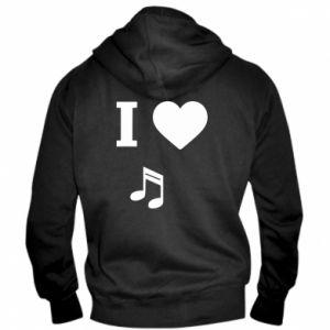 Męska bluza z kapturem na zamek I love music