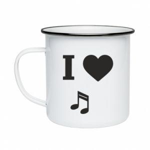 Enameled mug I love music