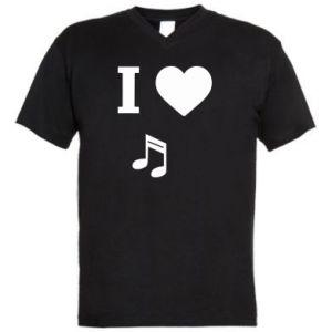 Męska koszulka V-neck I love music