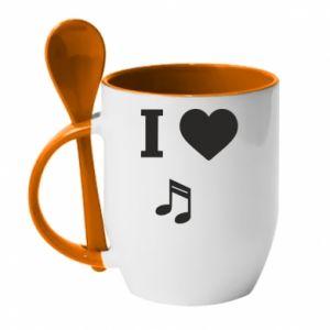 Kubek z ceramiczną łyżeczką I love music