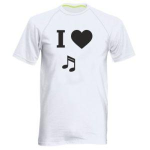 Męska koszulka sportowa I love music