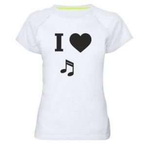 Damska koszulka sportowa I love music