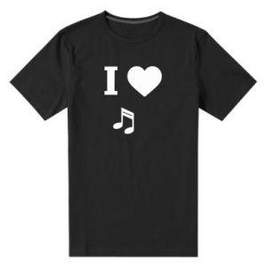 Męska premium koszulka I love music