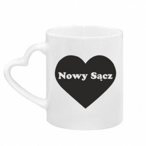 Mug with heart shaped handle I love Nowy Sacz