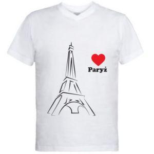 Męska koszulka V-neck Paryżu, kocham cię