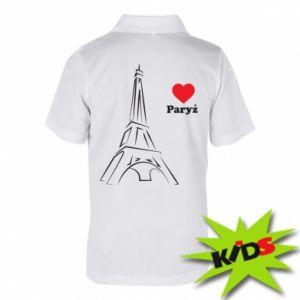 Dziecięca koszulka polo Paryżu, kocham cię - PrintSalon