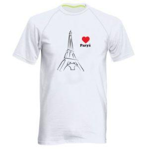 Męska koszulka sportowa Paryżu, kocham cię