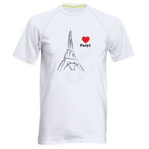 Męska koszulka sportowa Paryżu, kocham cię - PrintSalon