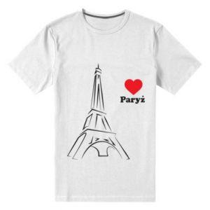 Męska premium koszulka Paryżu, kocham cię