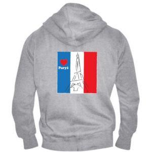 Męska bluza z kapturem na zamek Kocham Paryż