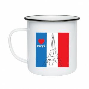 Kubek emaliowane Kocham Paryż