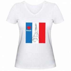 Damska koszulka V-neck Kocham Paryż