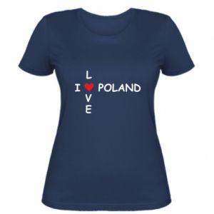 Damska koszulka I love Poland crossword - PrintSalon