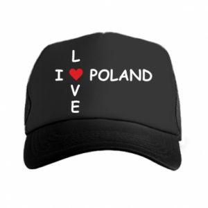 Czapka trucker I love Poland crossword