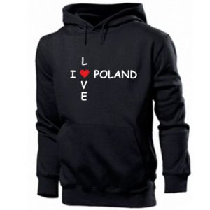 Męska bluza z kapturem I love Poland crossword - PrintSalon