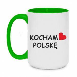 Two-toned mug 450ml I love Poland