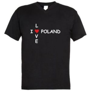 Men's V-neck t-shirt I love Poland crossword