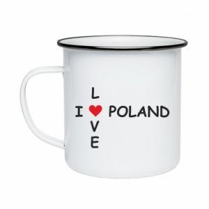 Kubek emaliowane I love Poland crossword - PrintSalon