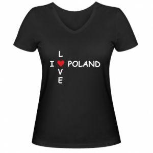 Damska koszulka V-neck Kocham Polskę - PrintSalon