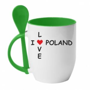 Kubek z ceramiczną łyżeczką I love Poland crossword - PrintSalon