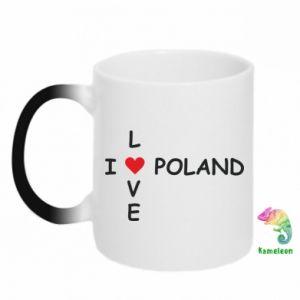 Kubek-kameleon I love Poland crossword - PrintSalon