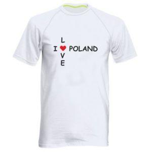 Męska koszulka sportowa I love Poland crossword - PrintSalon
