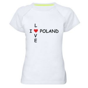 Damska koszulka sportowa I love Poland crossword - PrintSalon
