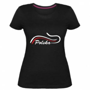 Damska premium koszulka Kocham, Polskę - PrintSalon