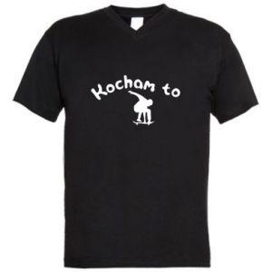 Męska koszulka V-neck Kocham to - PrintSalon