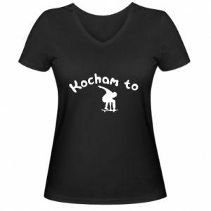 Damska koszulka V-neck Kocham to - PrintSalon