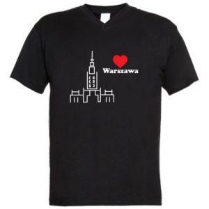 Męska koszulka V-neck Warszawa kocham cię