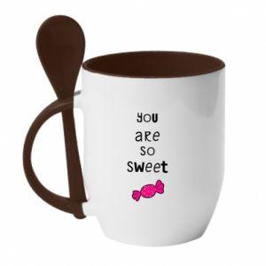 Kubek z ceramiczną łyżeczką You are so sweet - PrintSalon