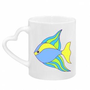 Kubek z uchwytem w kształcie serca Kolorowe ryby