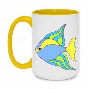 Two-toned mug 450ml Colorful fish