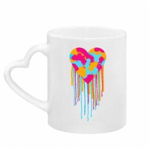 Kubek z uchwytem w kształcie serca Kolorowe serce
