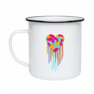 Kubek emaliowany Kolorowe serce