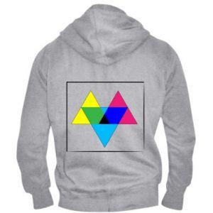 Męska bluza z kapturem na zamek Kolorowe trójkąty