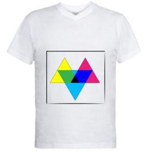 Męska koszulka V-neck Kolorowe trójkąty