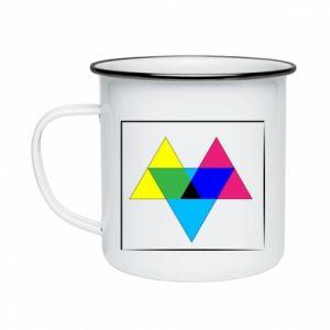 Kubek emaliowane Kolorowe trójkąty