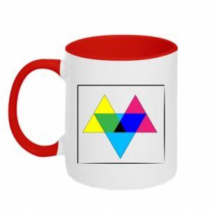 Kubek dwukolorowy Kolorowe trójkąty
