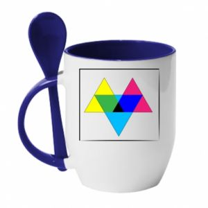 Kubek z ceramiczną łyżeczką Kolorowe trójkąty