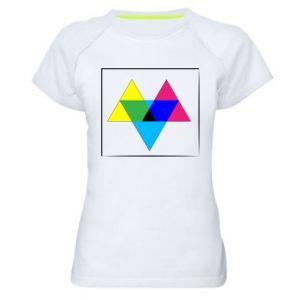 Damska koszulka sportowa Kolorowe trójkąty