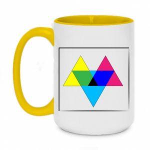Kubek dwukolorowy 450ml Kolorowe trójkąty