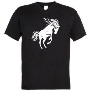 Męska koszulka V-neck Koń - Printsalon