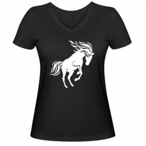 Damska koszulka V-neck Koń - Printsalon